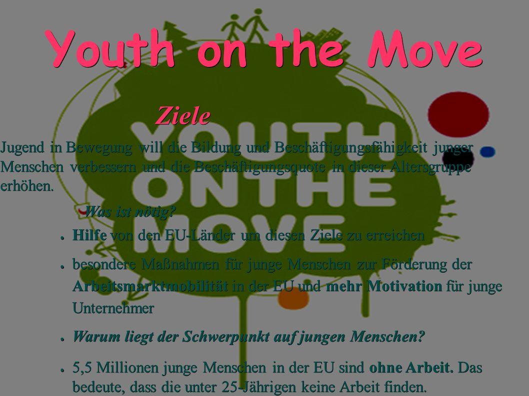 Youth on the Move Ziele Ziele Jugend in Bewegung will die Bildung und Beschäftigungsfähigkeit junger Menschen verbessern und die Beschäftigungsquote in dieser Altersgruppe erhöhen.