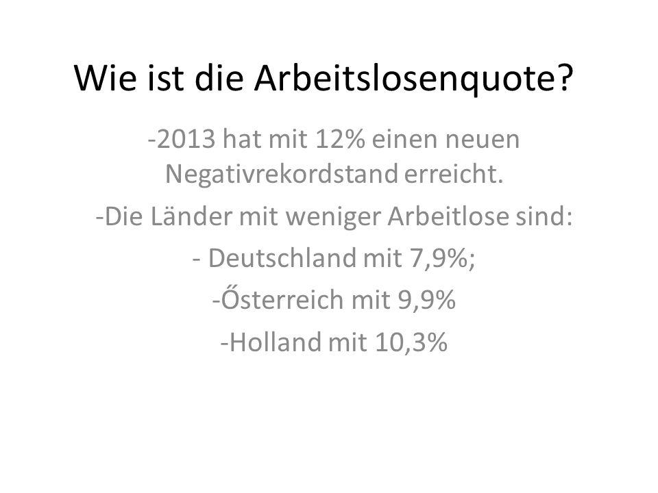 Wie ist die Arbeitslosenquote.-2013 hat mit 12% einen neuen Negativrekordstand erreicht.