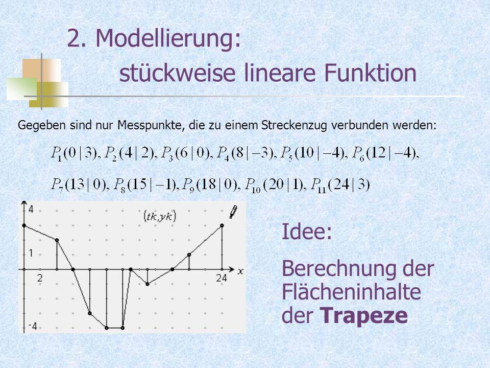 2. Modellierung: stückweise lineare Funktion Gegeben sind nur Messpunkte, die zu einem Streckenzug verbunden werden: Idee: Berechnung der Flächeninhal