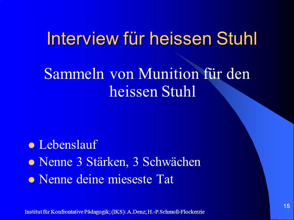 Institut für Konfrontative Pädagogik; (IKS): A.Denz; H.-P.Schmoll-Flockerzie 14 Heisser Stuhl - Grundlagen Grundlage I Sympathie und Respekt Grundlage