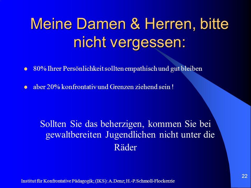 Institut für Konfrontative Pädagogik; (IKS): A.Denz; H.-P.Schmoll-Flockerzie 21 Anzeigen nach AAT- Abschluss Anzeigen nach AAT- Abschluss Total 18 Absolventen: Gelb: 15 ohne Gewalt Blau: 3 mit Gewalt (KV)