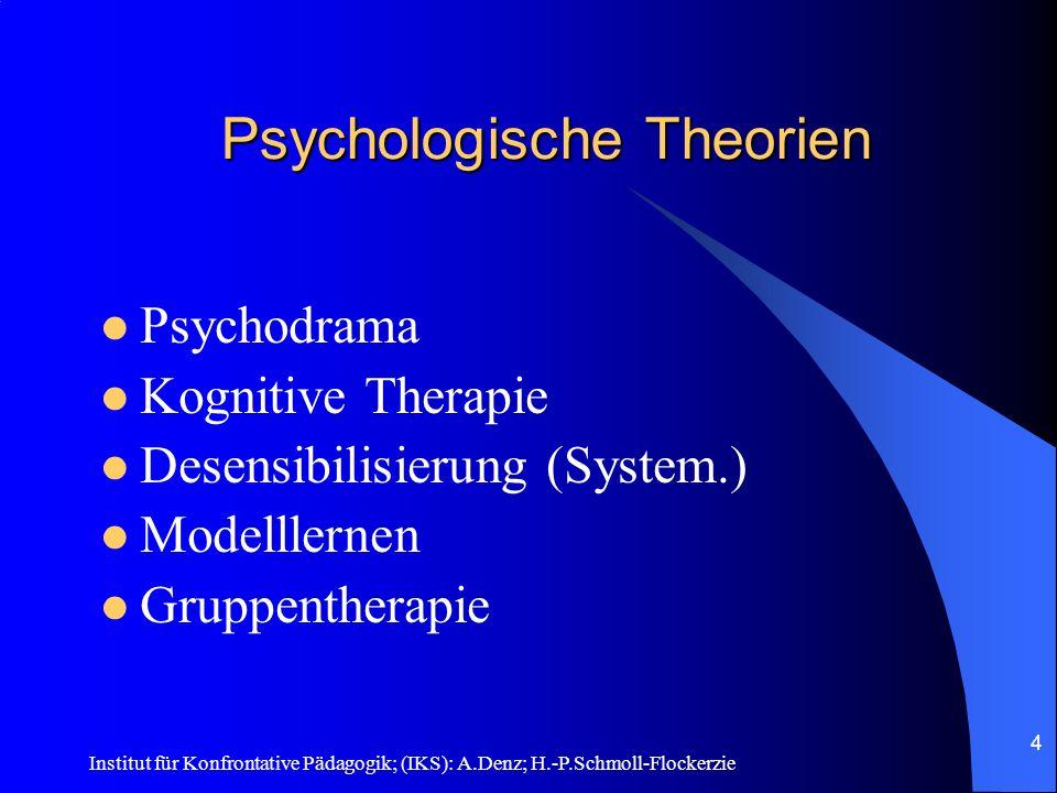 Institut für Konfrontative Pädagogik; (IKS): A.Denz; H.-P.Schmoll-Flockerzie 3 Sozialpädagogisch – psychologische Wurzeln Das Anti-Aggressivitäts-Training wurde von Prof.