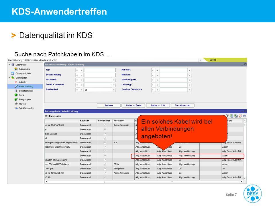 Vorname Name | Titel der Veranstaltung | Datum | Seite 7 KDS-Anwendertreffen > Datenqualität im KDS Suche nach Patchkabeln im KDS…. Ein solches Kabel