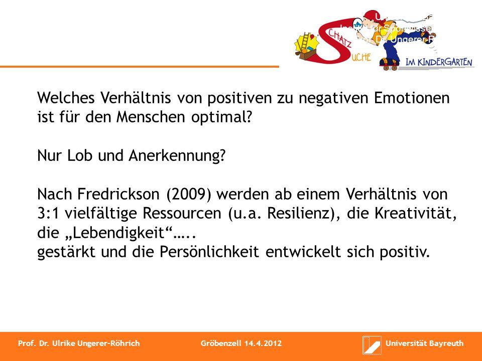Institut für Sportwissenschaft Prof. Dr. Ungerer-Röhrich Welches Verhältnis von positiven zu negativen Emotionen ist für den Menschen optimal? Nur Lob