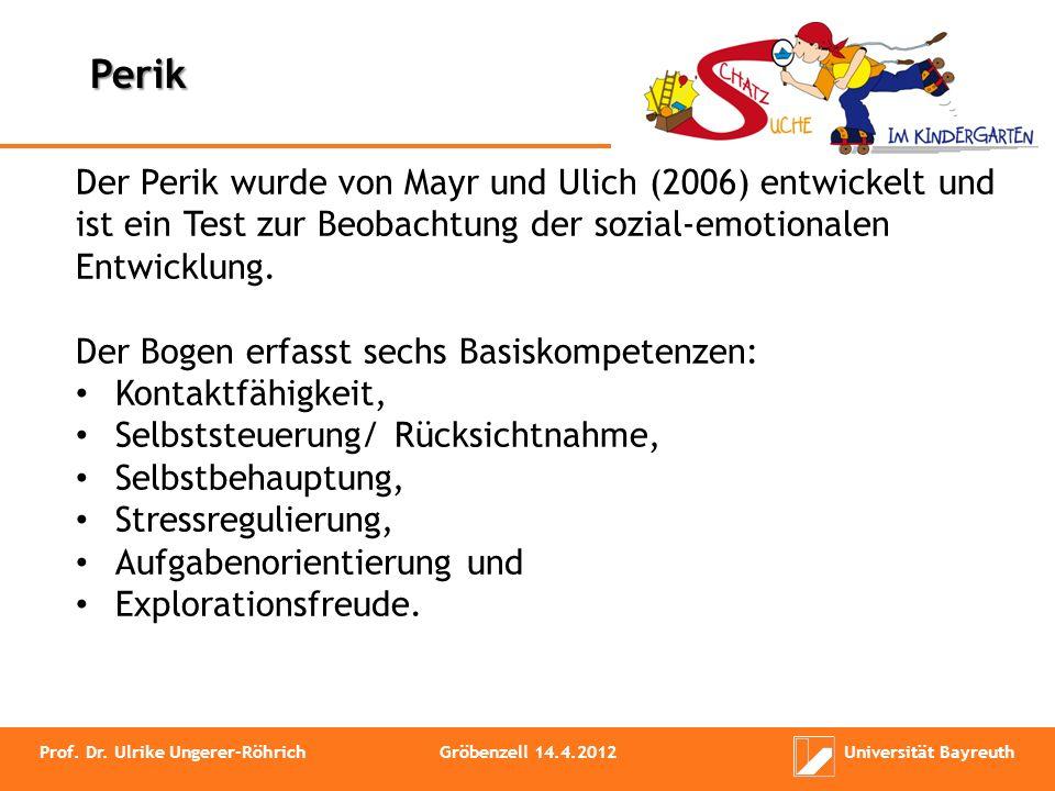 Prof. Dr. Ulrike Ungerer-RöhrichGröbenzell 14.4.2012Universität Bayreuth Der Perik wurde von Mayr und Ulich (2006) entwickelt und ist ein Test zur Beo