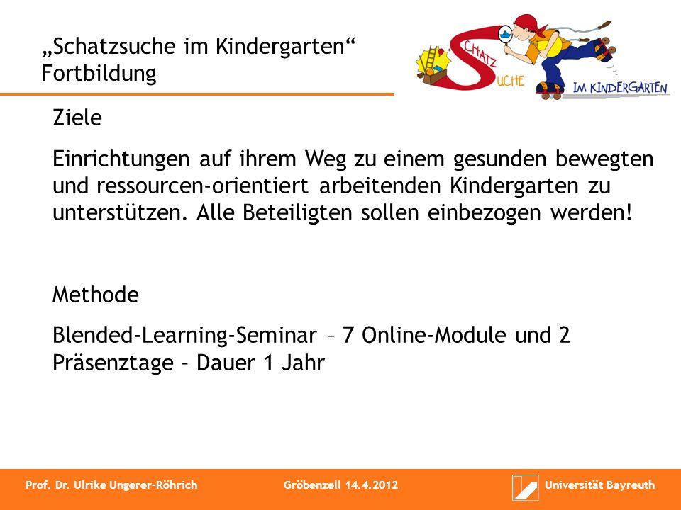 Schatzsuche im Kindergarten Fortbildung Ziele Einrichtungen auf ihrem Weg zu einem gesunden bewegten und ressourcen-orientiert arbeitenden Kindergarte