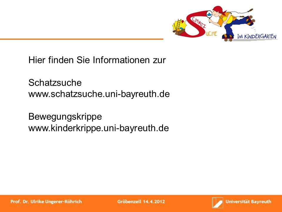 Prof. Dr. Ulrike Ungerer-RöhrichGröbenzell 14.4.2012Universität Bayreuth Hier finden Sie Informationen zur Schatzsuche www.schatzsuche.uni-bayreuth.de
