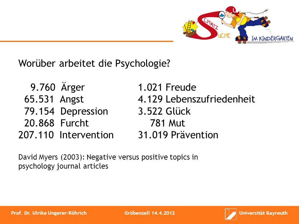 Ärger : Freude = 9,6 : 1 Angst : Lebenszufriedenheit = 15,9 : 1 Depression : Glück =22,6 : 1 Furcht : Mut = 26,7 : 1 Intervention : Prävention = 6,7 : 1 Prof.