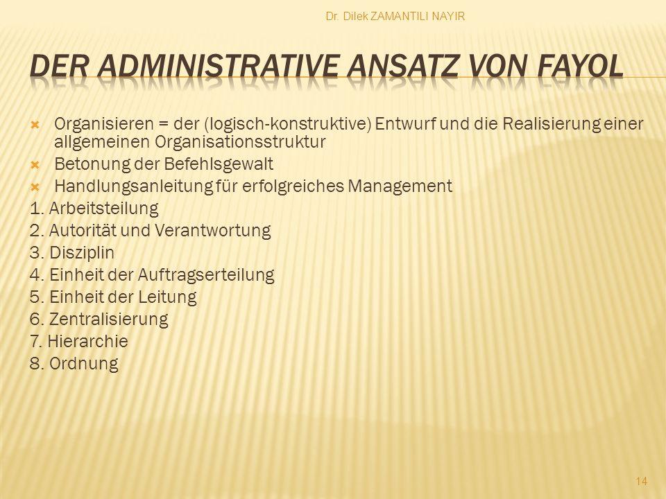 Dr. Dilek ZAMANTILI NAYIR 14 Organisieren = der (logisch-konstruktive) Entwurf und die Realisierung einer allgemeinen Organisationsstruktur Betonung d