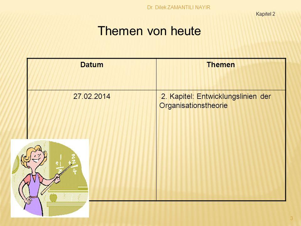 Dr. Dilek ZAMANTILI NAYIR 3 DatumThemen 27.02.2014 - 2. Kapitel: Entwicklungslinien der Organisationstheorie Themen von heute Kapitel 2