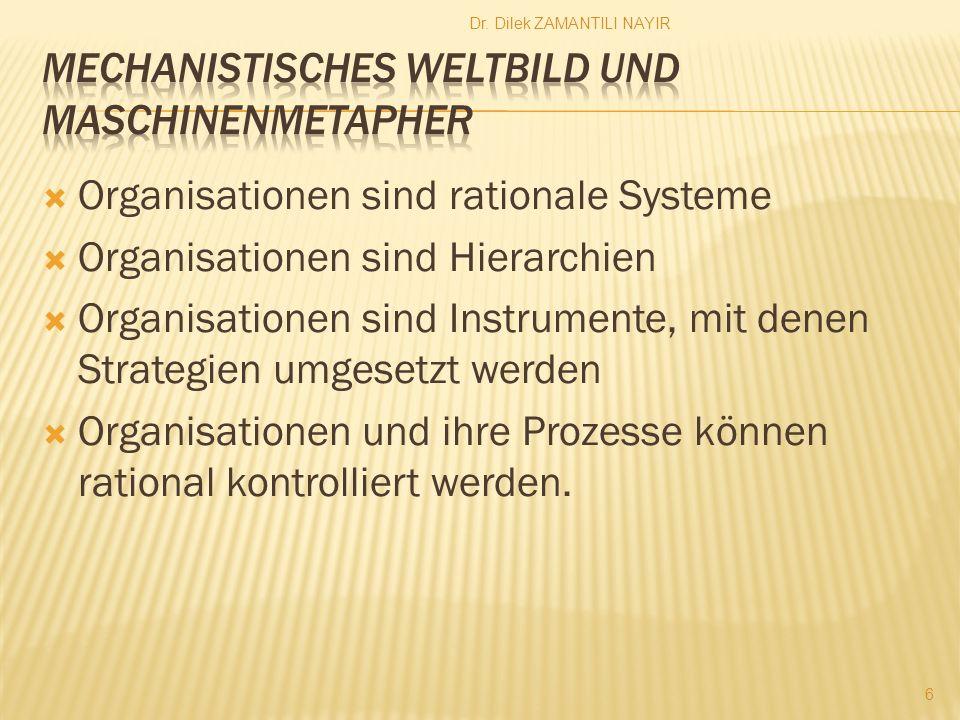 6 Organisationen sind rationale Systeme Organisationen sind Hierarchien Organisationen sind Instrumente, mit denen Strategien umgesetzt werden Organis