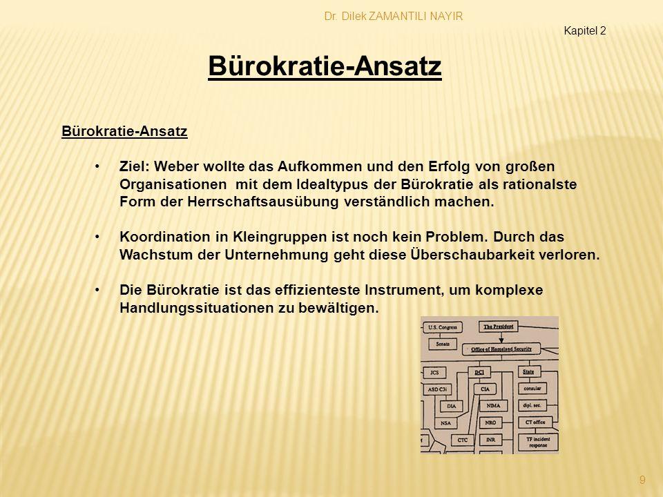 Dr. Dilek ZAMANTILI NAYIR 9 Kapitel 2 Bürokratie-Ansatz Ziel: Weber wollte das Aufkommen und den Erfolg von großen Organisationen mit dem Idealtypus d
