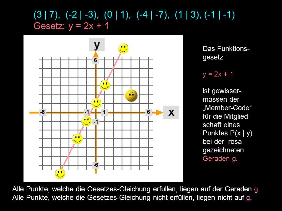 (3 | 7), (-2 | -3), (0 | 1), (-4 | -7), (1 | 3), (-1 | -1) Gesetz: y = 2x + 1 Alle Punkte, welche die Gesetzes-Gleichung erfüllen, liegen auf der Gera