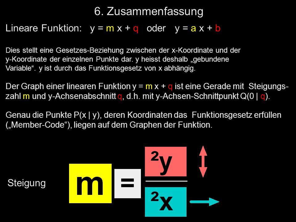 6. Zusammenfassung Lineare Funktion: y = m x + q oder y = a x + b Dies stellt eine Gesetzes-Beziehung zwischen der x-Koordinate und der y-Koordinate d