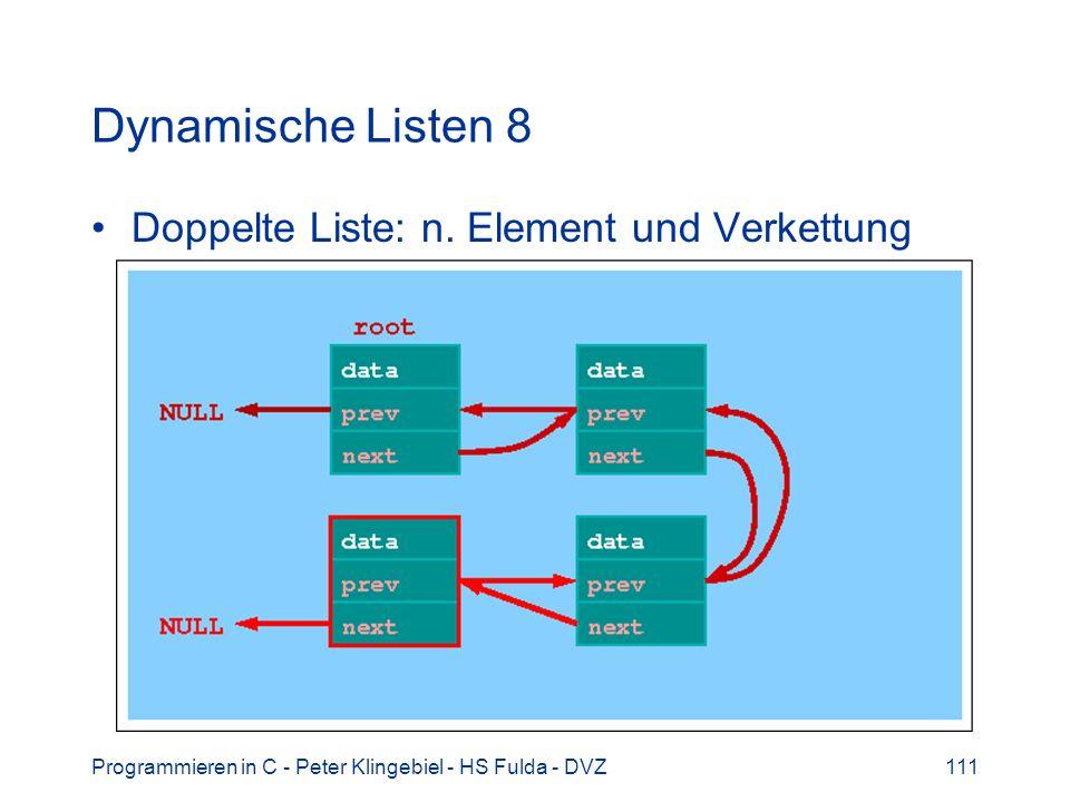 Programmieren in C - Peter Klingebiel - HS Fulda - DVZ111 Dynamische Listen 8 Doppelte Liste: n. Element und Verkettung