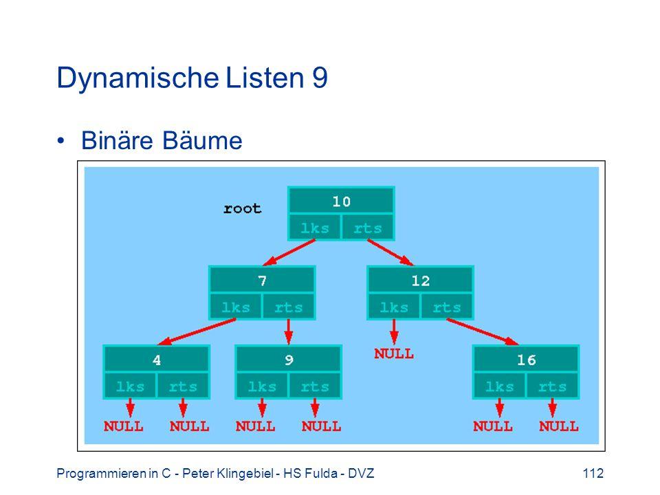 Programmieren in C - Peter Klingebiel - HS Fulda - DVZ112 Dynamische Listen 9 Binäre Bäume