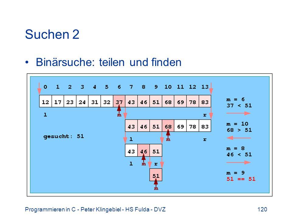 Programmieren in C - Peter Klingebiel - HS Fulda - DVZ120 Suchen 2 Binärsuche: teilen und finden