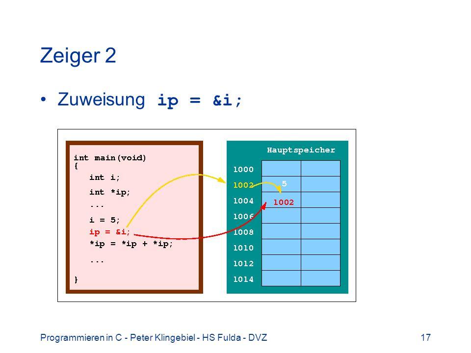 Programmieren in C - Peter Klingebiel - HS Fulda - DVZ17 Zeiger 2 Zuweisung ip = &i;