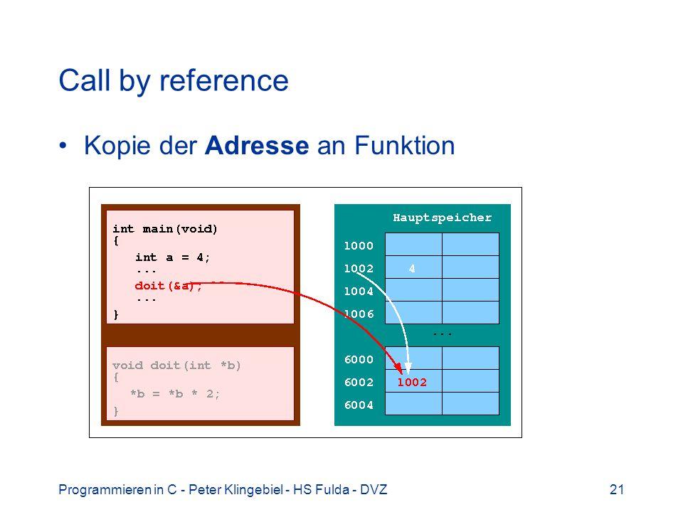 Programmieren in C - Peter Klingebiel - HS Fulda - DVZ21 Call by reference Kopie der Adresse an Funktion