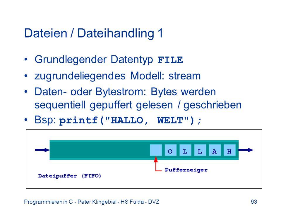 Programmieren in C - Peter Klingebiel - HS Fulda - DVZ93 Dateien / Dateihandling 1 Grundlegender Datentyp FILE zugrundeliegendes Modell: stream Daten- oder Bytestrom: Bytes werden sequentiell gepuffert gelesen / geschrieben Bsp: printf( HALLO, WELT );