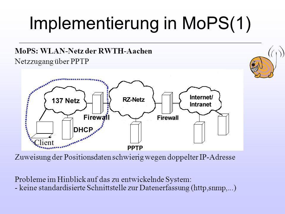 Implementierung in MoPS(1) MoPS: WLAN-Netz der RWTH-Aachen Netzzugang über PPTP Zuweisung der Positionsdaten schwierig wegen doppelter IP-Adresse Probleme im Hinblick auf das zu entwickelnde System: - keine standardisierte Schnittstelle zur Datenerfassung (http,snmp,...)