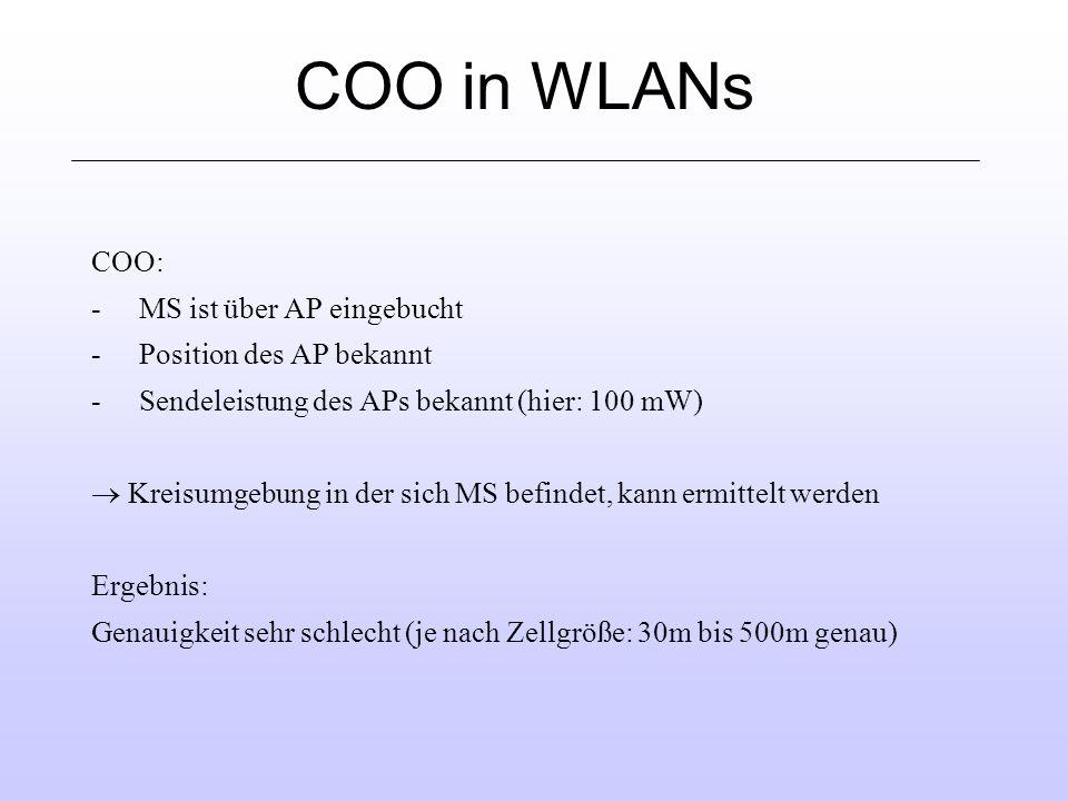 COO in WLANs COO: - MS ist über AP eingebucht - Position des AP bekannt - Sendeleistung des APs bekannt (hier: 100 mW) Kreisumgebung in der sich MS befindet, kann ermittelt werden Ergebnis: Genauigkeit sehr schlecht (je nach Zellgröße: 30m bis 500m genau)