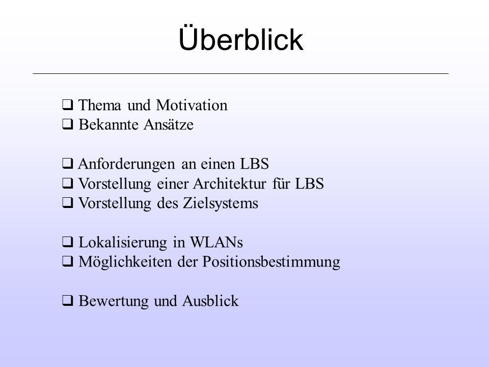Überblick q Thema und Motivation q Bekannte Ansätze q Anforderungen an einen LBS q Vorstellung einer Architektur für LBS q Vorstellung des Zielsystems q Lokalisierung in WLANs q Möglichkeiten der Positionsbestimmung q Bewertung und Ausblick