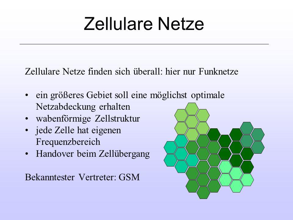 Zellulare Netze Zellulare Netze finden sich überall: hier nur Funknetze ein größeres Gebiet soll eine möglichst optimale Netzabdeckung erhalten wabenförmige Zellstruktur jede Zelle hat eigenen Frequenzbereich Handover beim Zellübergang Bekanntester Vertreter: GSM
