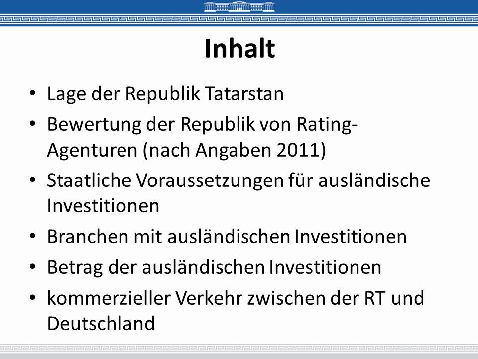 Inhalt Lage der Republik Tatarstan Bewertung der Republik von Rating- Agenturen (nach Angaben 2011) Staatliche Voraussetzungen für ausländische Investitionen Branchen mit ausländischen Investitionen Betrag der ausländischen Investitionen kommerzieller Verkehr zwischen der RT und Deutschland