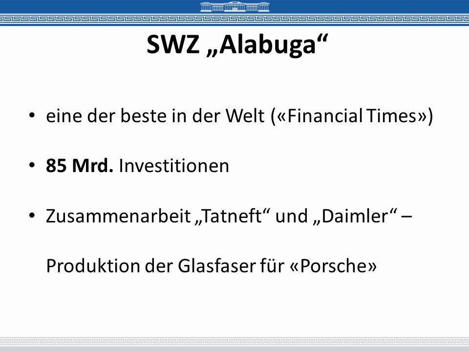 SWZ Alabuga eine der beste in der Welt («Financial Times») 85 Mrd. Investitionen Zusammenarbeit Tatneft und Daimler – Produktion der Glasfaser für «Po