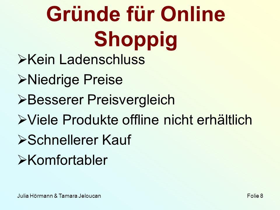 Julia Hörmann & Tamara Jeloucan Folie 8 Gründe für Online Shoppig Kein Ladenschluss Niedrige Preise Besserer Preisvergleich Viele Produkte offline nic