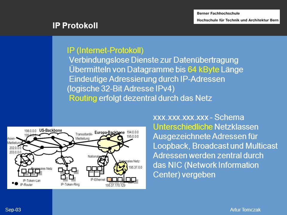 Sep-03Artur Tomczak IP Protokoll IP (Internet-Protokoll) Verbindungslose Dienste zur Datenübertragung Übermitteln von Datagramme bis 64 kByte Länge Ei
