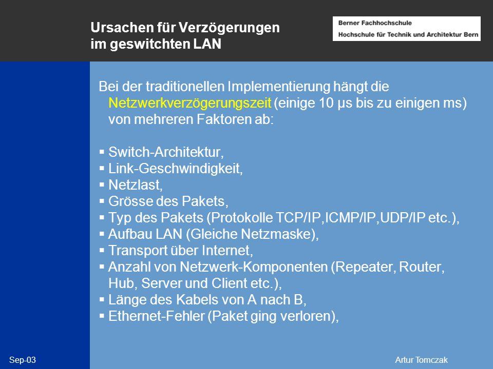 Sep-03Artur Tomczak Ursachen für Verzögerungen im geswitchten LAN Bei der traditionellen Implementierung hängt die Netzwerkverzögerungszeit (einige 10