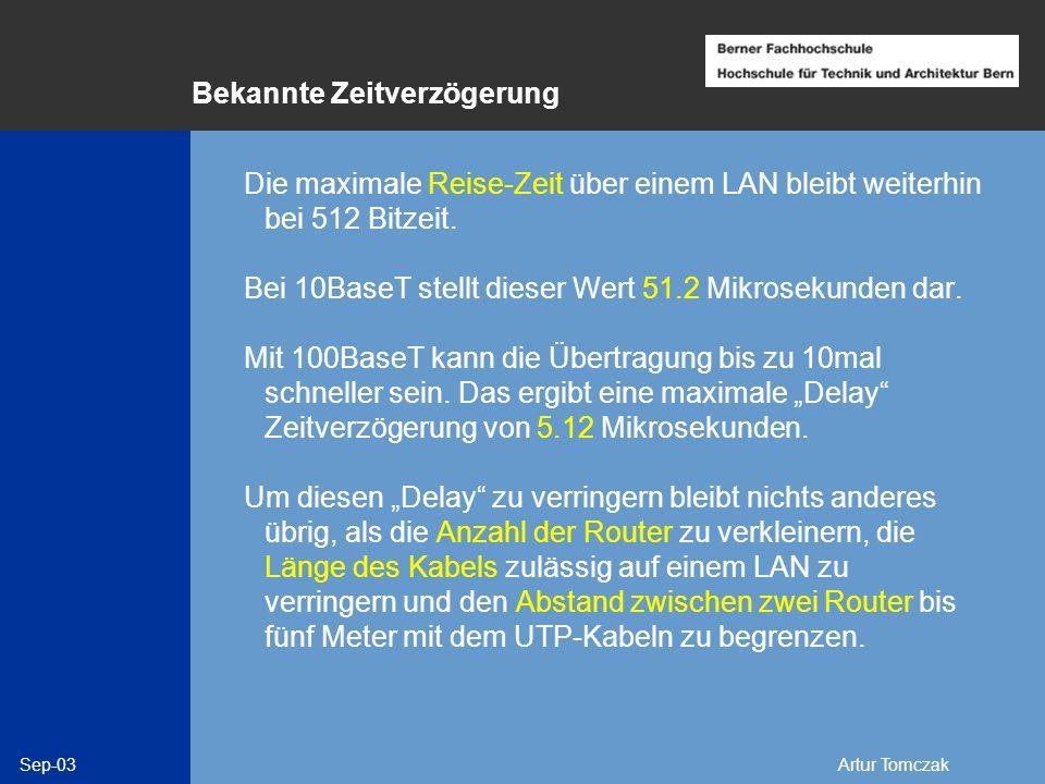 Sep-03Artur Tomczak Bekannte Zeitverzögerung Die maximale Reise-Zeit über einem LAN bleibt weiterhin bei 512 Bitzeit. Bei 10BaseT stellt dieser Wert 5