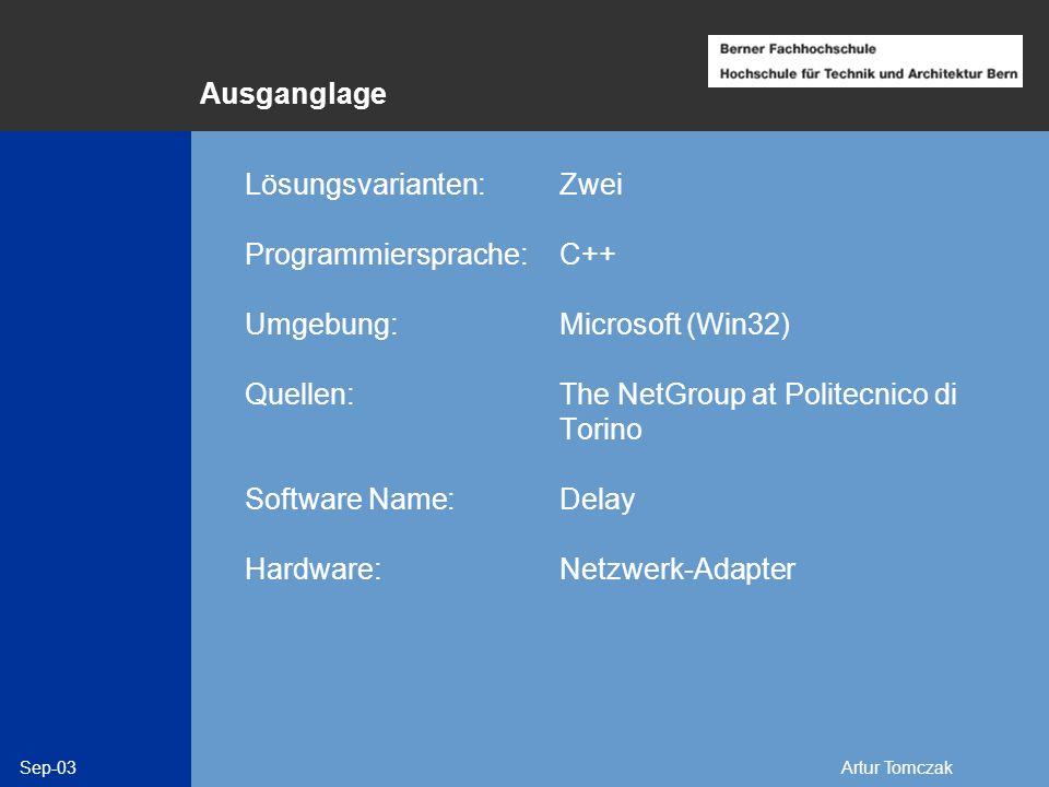 Sep-03Artur Tomczak Ausganglage Lösungsvarianten: Zwei Programmiersprache: C++ Umgebung: Microsoft (Win32) Quellen:The NetGroup at Politecnico di Tori