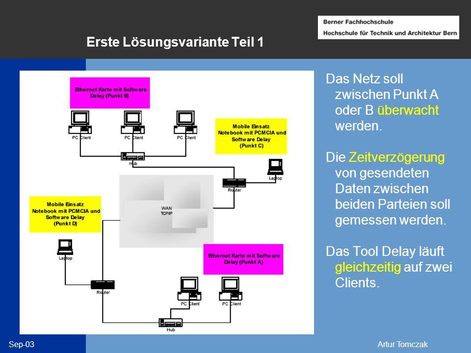 Sep-03Artur Tomczak Erste Lösungsvariante Teil 1 Das Netz soll zwischen Punkt A oder B überwacht werden. Die Zeitverzögerung von gesendeten Daten zwis