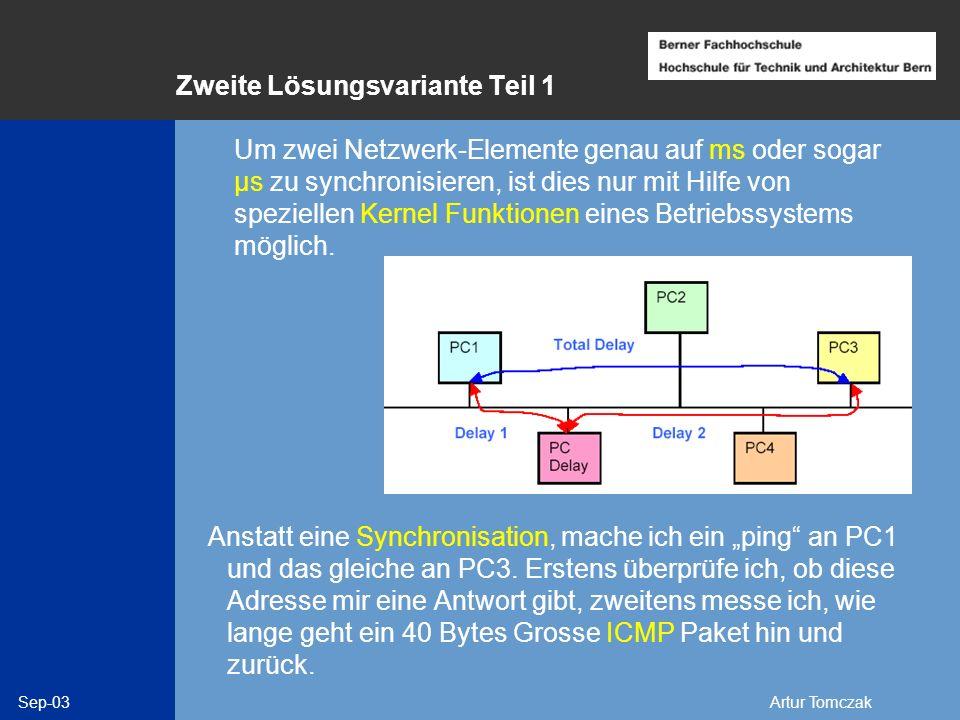 Sep-03Artur Tomczak Zweite Lösungsvariante Teil 1 Anstatt eine Synchronisation, mache ich ein ping an PC1 und das gleiche an PC3. Erstens überprüfe ic