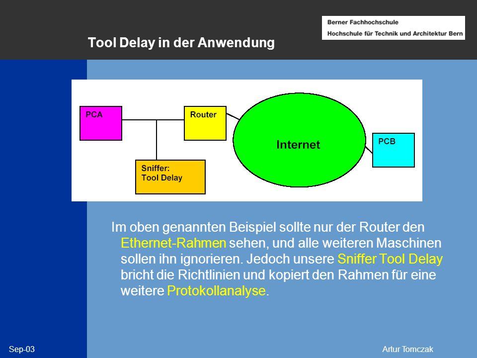 Sep-03Artur Tomczak Tool Delay in der Anwendung Im oben genannten Beispiel sollte nur der Router den Ethernet-Rahmen sehen, und alle weiteren Maschine