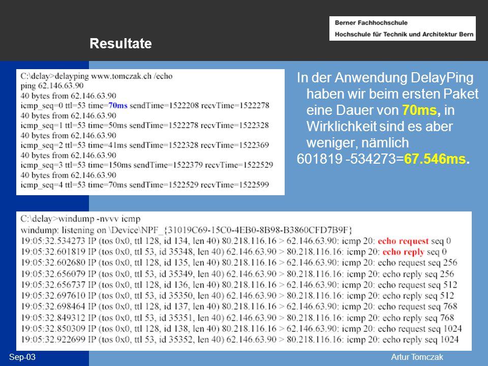Sep-03Artur Tomczak Resultate In der Anwendung DelayPing haben wir beim ersten Paket eine Dauer von 70ms, in Wirklichkeit sind es aber weniger, nämlic