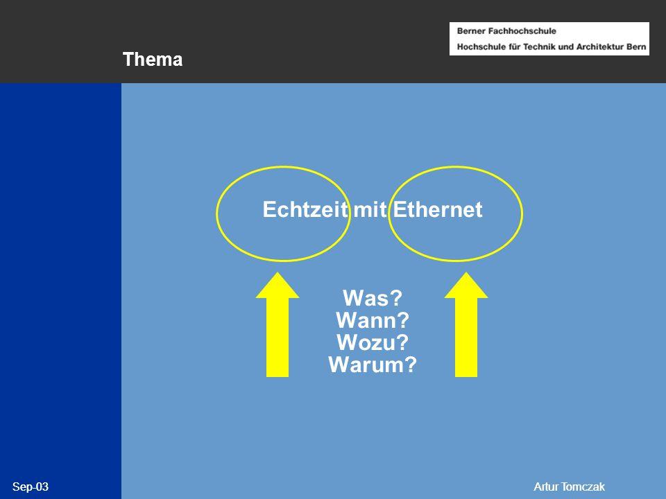 Sep-03Artur Tomczak Echtzeit Unter Echtzeit versteht man den Betrieb eines Rechensystems, bei dem Programme zur Verarbeitung anfallender Daten ständig betriebsbereit sind, derart, daß die Verarbeitungsergebnisse innerhalb einer vorgegebenen Zeitspanne verfügbar sind.