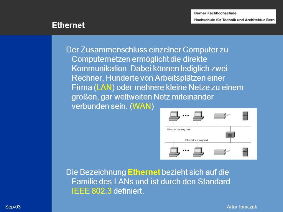 Sep-03Artur Tomczak Standards der Arbeitsgruppe 802 802.1 Umfeld, LAN-/MAN-Management 802.1d Transparent-/ SRT-Bridging 802.2 Logical Link Control 802.3 CSMA/CD*) (Ethernet) 802.4 Token Bus 802.5 Token Ring 802.6 Distributed Queue Dual Bus (DQDB) 802.7 Broadband LANs 802.8 Multimode Fiber Optic Media 802.9 Integrated Services LAN 802.10 Std.