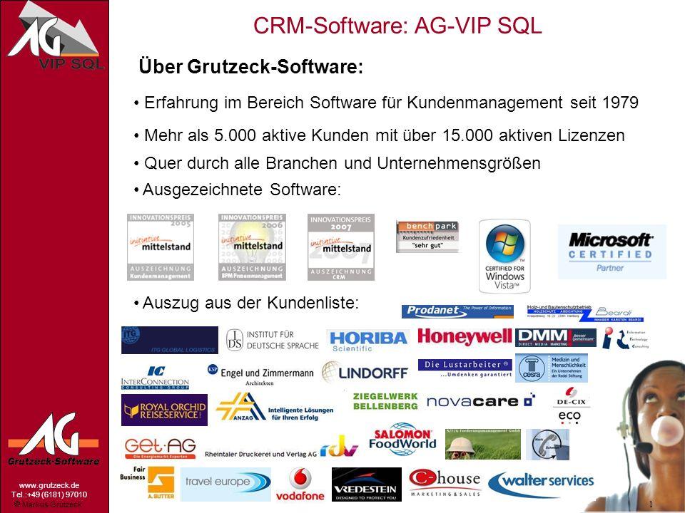 Markus Grutzeck www.grutzeck.de Tel.:+49 (6181) 97010 CRM-Software: AG-VIP SQL 1 Über Grutzeck-Software: Erfahrung im Bereich Software für Kundenmanag