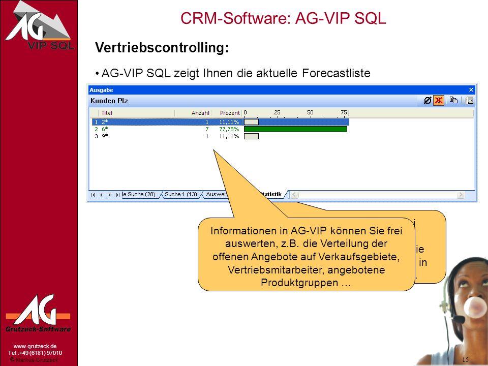 Markus Grutzeck www.grutzeck.de Tel.:+49 (6181) 97010 CRM-Software: AG-VIP SQL 15 Vertriebscontrolling: AG-VIP SQL zeigt Ihnen die aktuelle Forecastli