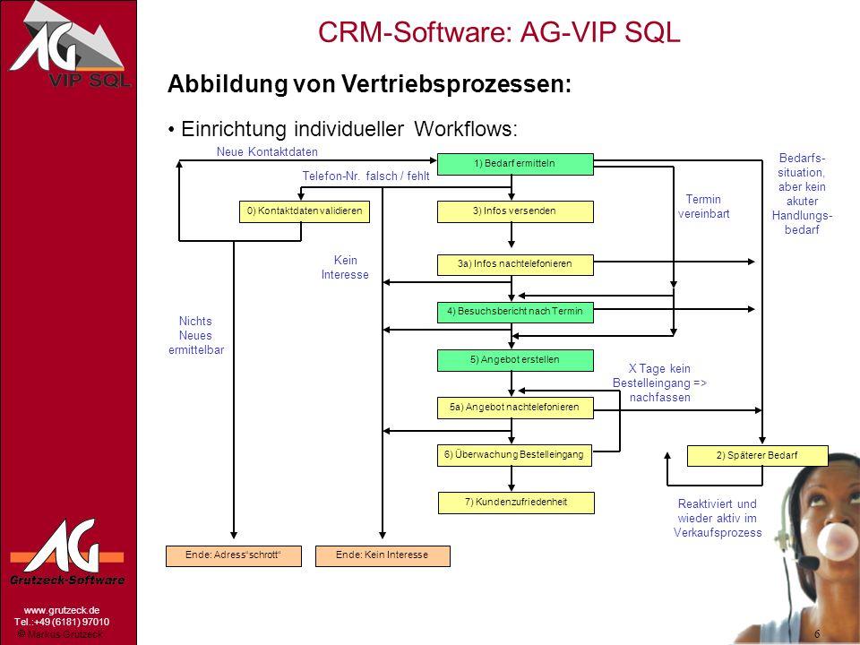 Markus Grutzeck www.grutzeck.de Tel.:+49 (6181) 97010 CRM-Software: AG-VIP SQL 6 Abbildung von Vertriebsprozessen: Einrichtung individueller Workflows