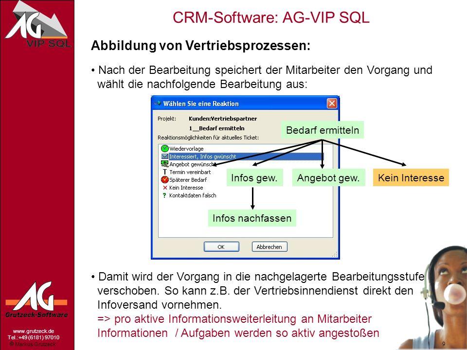 Markus Grutzeck www.grutzeck.de Tel.:+49 (6181) 97010 CRM-Software: AG-VIP SQL 9 Abbildung von Vertriebsprozessen: Nach der Bearbeitung speichert der
