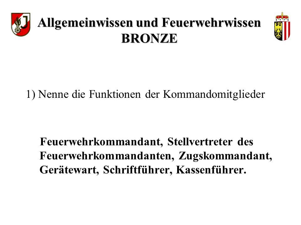 WISSENSTEST FÜR DIE FEUERWEHRJUGEND OBERÖSTERREICH STATION: Allgemeinwissen und Feuerwehrwissen BRONZE Stand: 04.01.2010