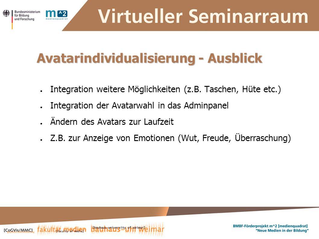 Susanne Krause, Marion Kulig, Anne Keller, Simone Braun Systementwickler :: ViSe – Virtueller Seminarraum Avatarindividualisierung - Ausblick Integration weitere Möglichkeiten (z.B.