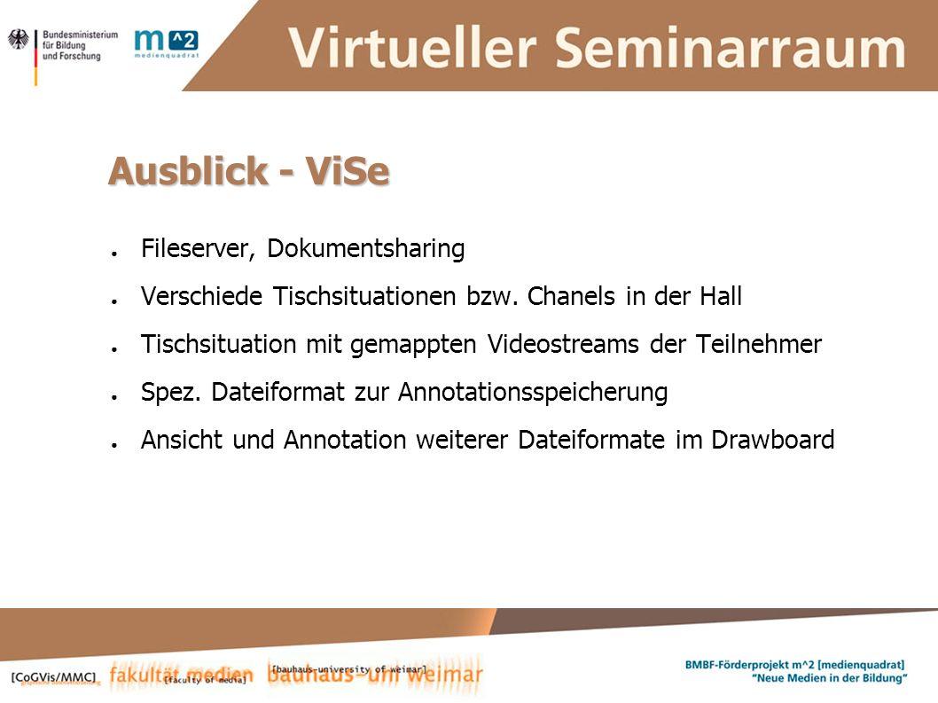 Susanne Krause, Marion Kulig, Anne Keller, Simone Braun Systementwickler :: ViSe – Virtueller Seminarraum Ausblick - ViSe Fileserver, Dokumentsharing Verschiede Tischsituationen bzw.