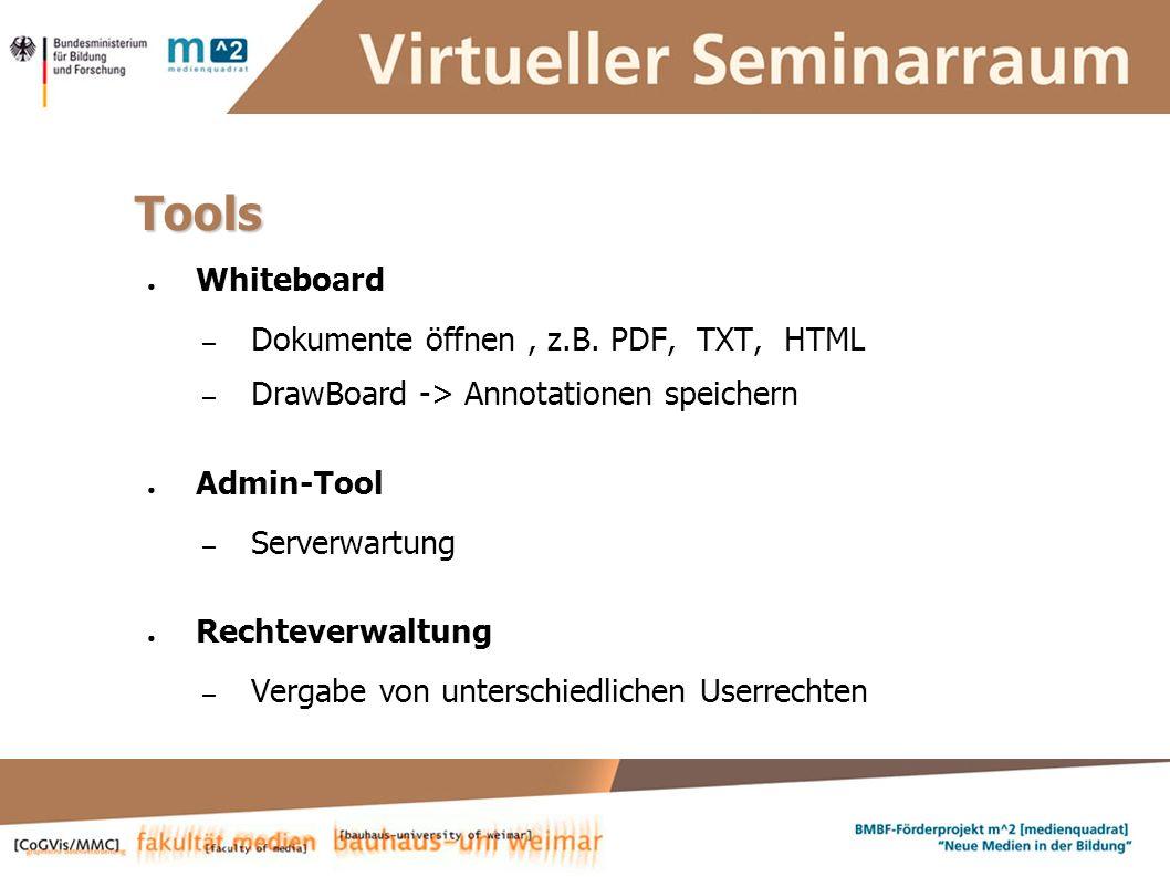 Susanne Krause, Marion Kulig, Anne Keller, Simone Braun Systementwickler :: ViSe – Virtueller Seminarraum Tools Whiteboard – Dokumente öffnen, z.B.