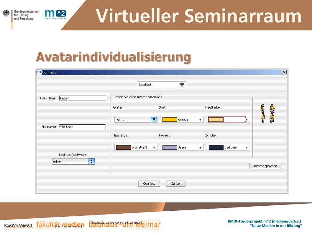 Susanne Krause, Marion Kulig, Anne Keller, Simone Braun Systementwickler :: ViSe – Virtueller Seminarraum Avatarindividualisierung